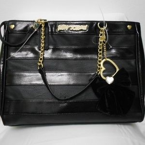 Betsey Johnson BLACK STRIPED SATCHEL